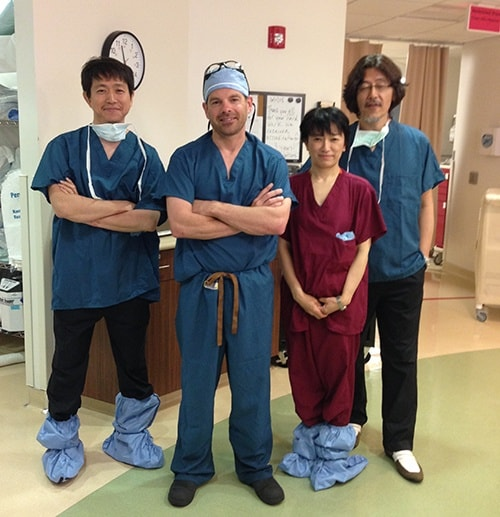 Dr McLaughlin pictured with three visiting orthopedic surgeons from Tokyo and Sapporo, Japan. They spent the day in the operating room with Dr. McLaughlin observing his arthroscopic shoulder rotator cuff repair techniques.
