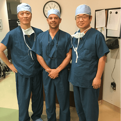 Dr. McLaughlin pictured with two visiting shoulder surgeons from South Korea, Dr. Sun and Dr. Kim.