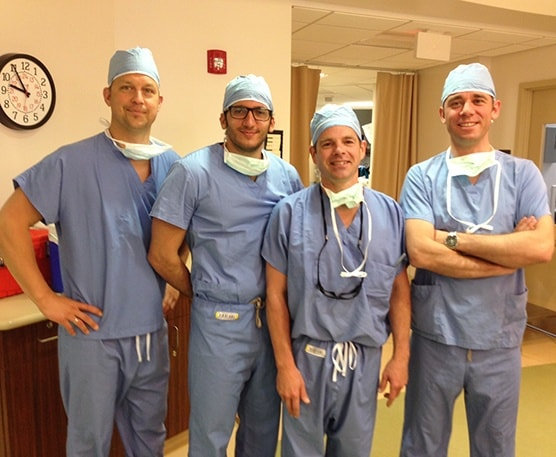 Dr. McLaughlin pictured with the 2014 German arthroscopy fellows in the operating room between cases. Each year the German Arthroscopy Association elects three orthopedic surgeons and sends them to United States for a month. They visit various shoulder specialists throughout the country observing surgical procedures. Dr. McLaughlin has been invited by the German Arthroscopy Association to participate in this program for the last 5 years.